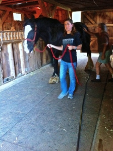 Here's Lainey taken Lucy out of her stall. :)